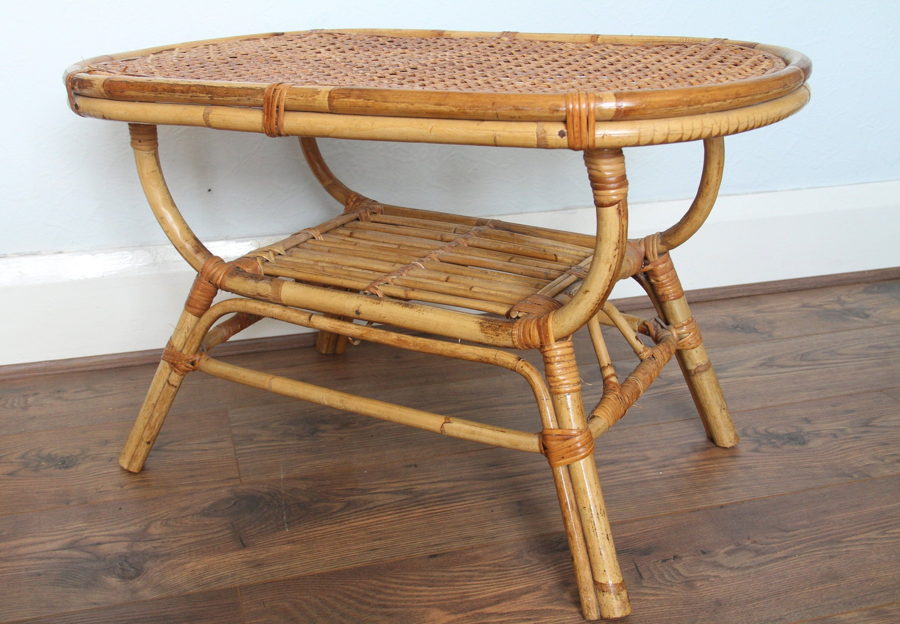 Mid Century Bamboo Rattan Coffee Table 1960s Rattan Coffee Table