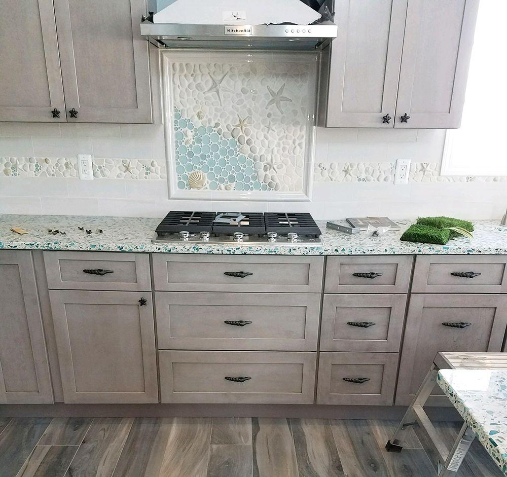 Ocean Themed Kitchen Backsplash Mosaic Mural Made With Ceramic