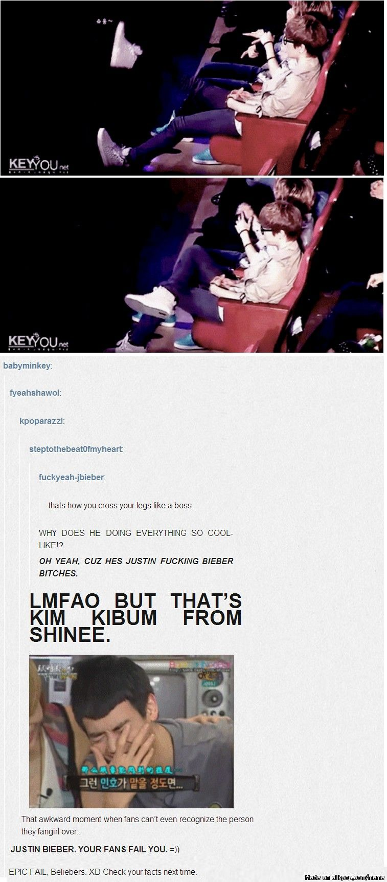 That Moment When Beliebers Thought Key Was Justin Xd Allkpop Meme Center Shinee Kpop Funny Kpop