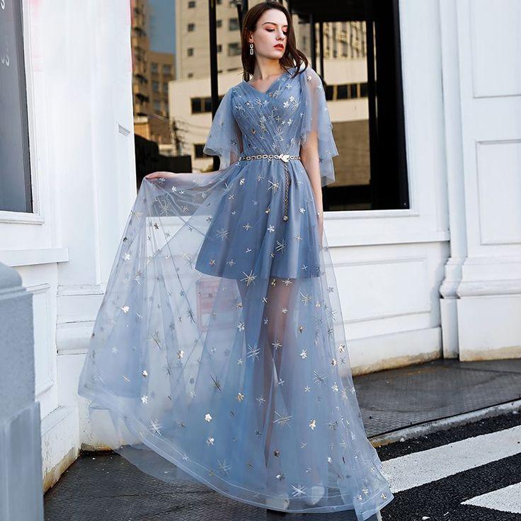 Erschwingliche himmelblaue Abendkleider 2019 A-Linie / Princess-Linie V-Ausschnitt Kurzarm ...   - Evening Dresses -   #Abendkleider #ALinie #Dresses #Erschwingliche #Evening #himmelblaue #Kurzarm #PrincessLinie #VAusschnitt #elbiseler