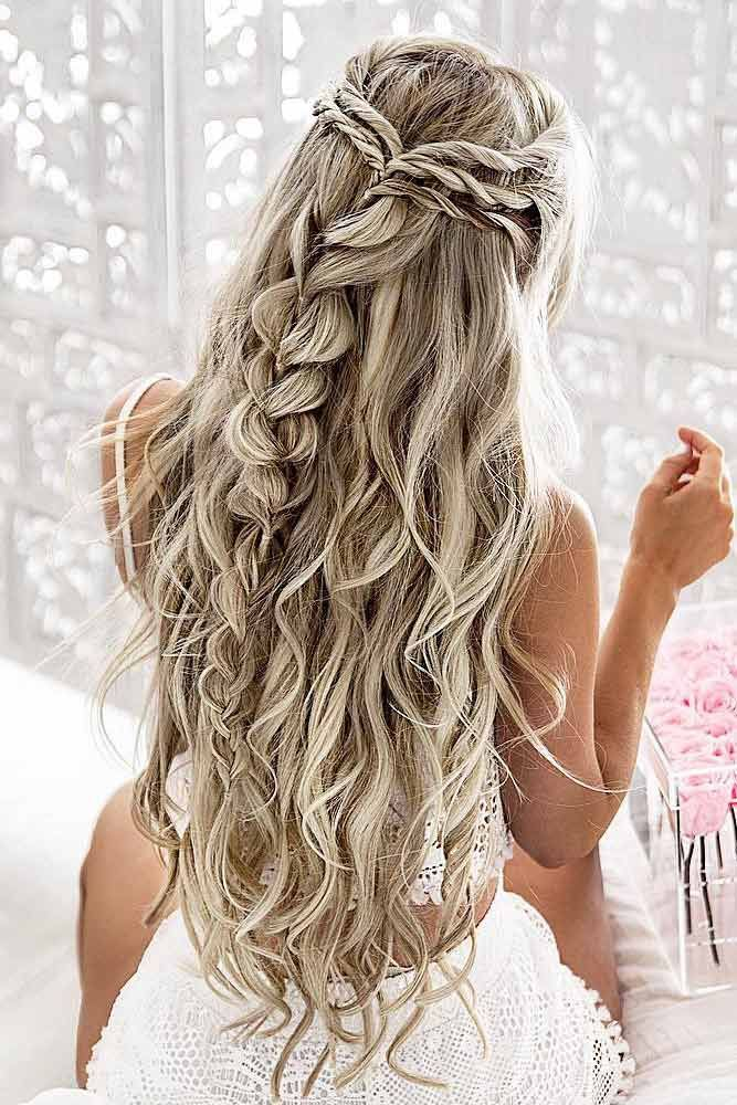 30 Chic Half Up Half Down Bridesmaid Hairstyles Lovehairstyles Com Pretty Braided Hairstyles Braided Hairstyles For Wedding Prom Hairstyles For Long Hair