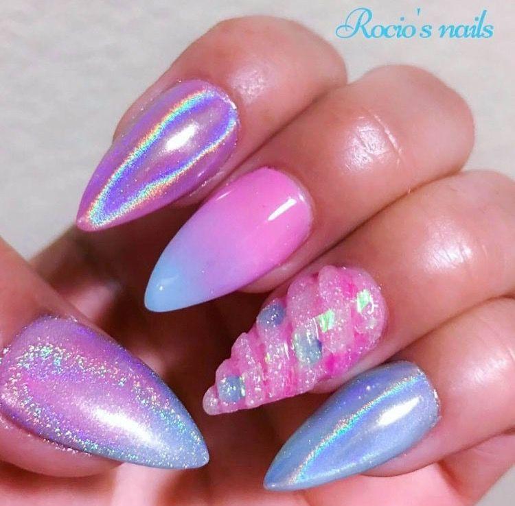 Pink Unicorn Nails