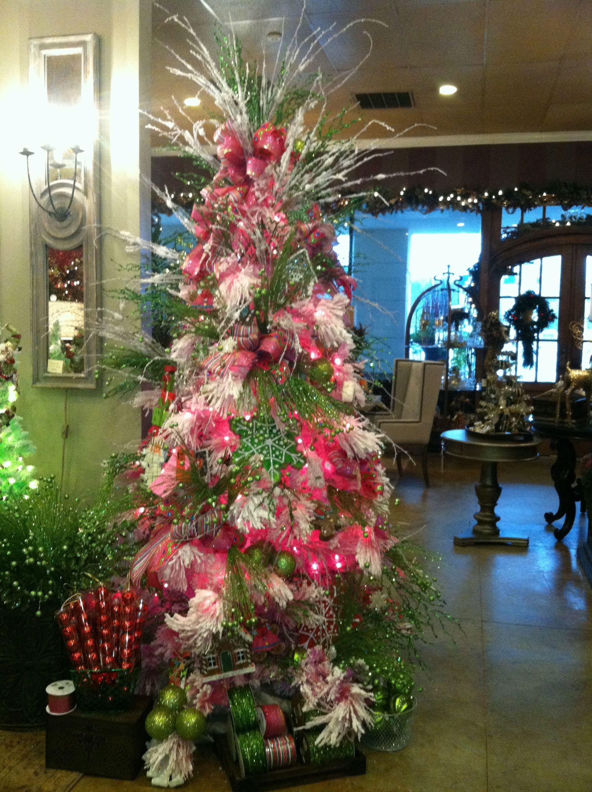 Pink, sugar pine flocked Christmas tree! | Christmas ...