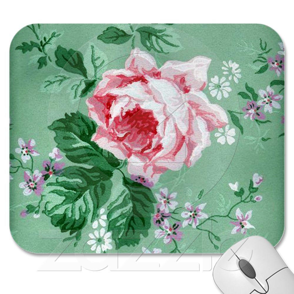Pink Rose Vintage Wallpaper Mousepad | Zazzle.com