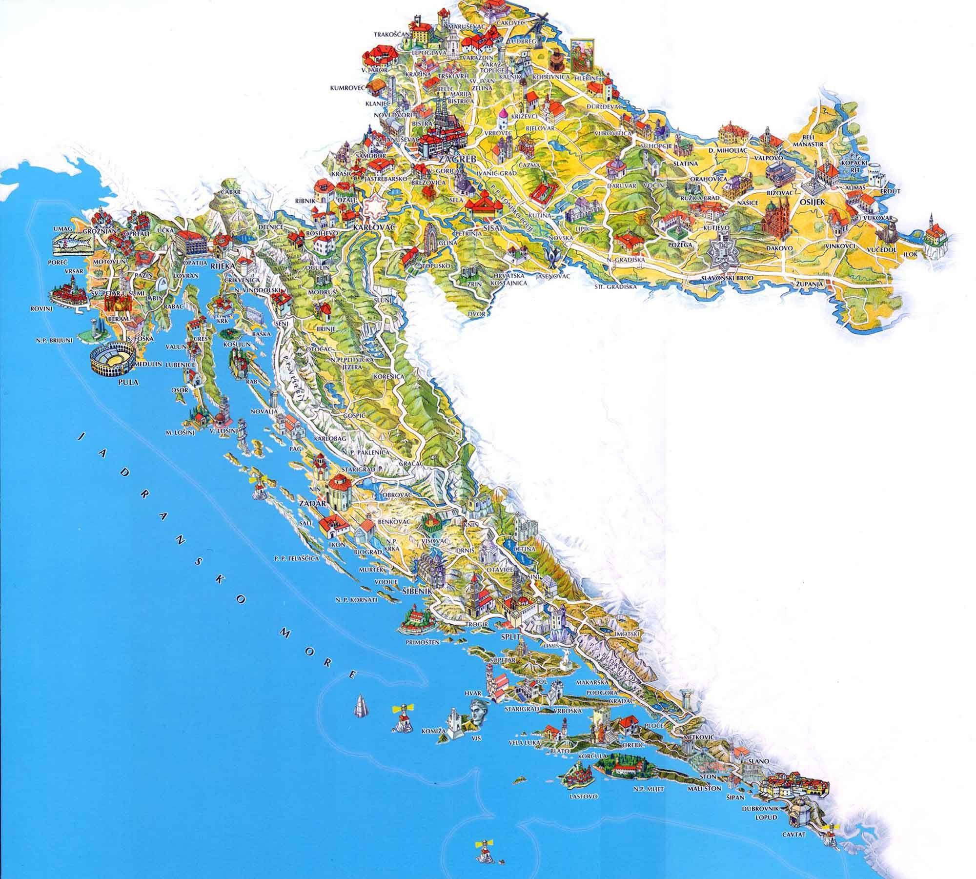 Mapahorvatiya2 Jpg 2000 1801 Croatia Map Croatia Tourist Tourist Map