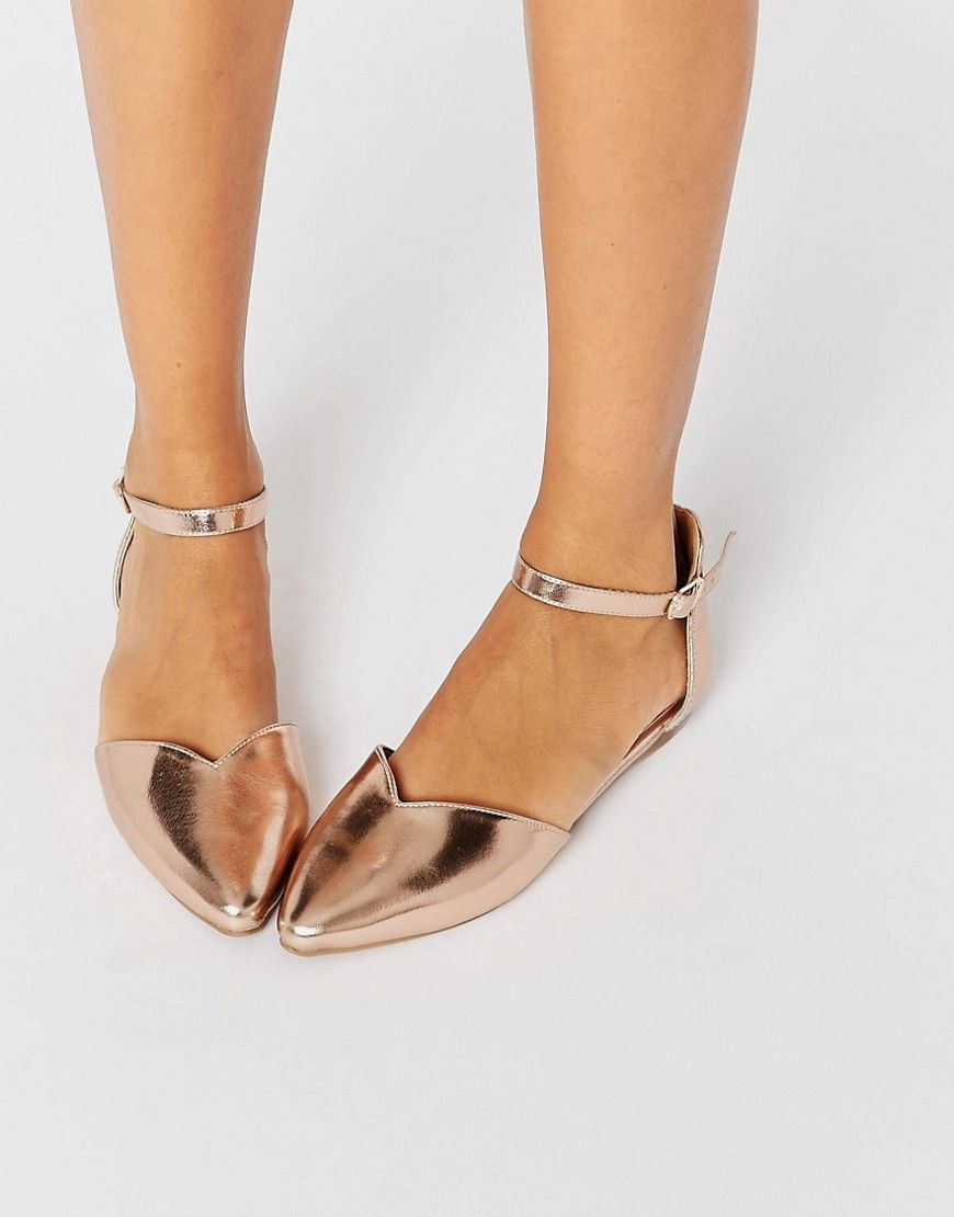 Image 1 Of Head Over Heels By Dune Hyrah Rose Gold Flat Shoes Shoe