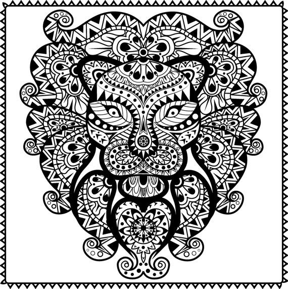 Abstract Tribal Lion Coloring Page For Adults PDF JPG Instant Download Animal