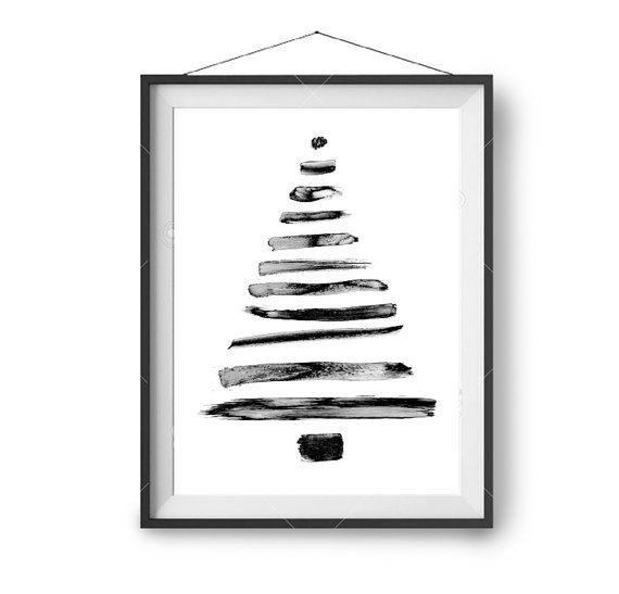 Christmas Tree Art Minimal Christmas Decor Abstract Xmas Tree Print Brush Strokes Print Paintbrush Art Black White Art Printable Art Christmas Tree Art Tree Art Printable Art