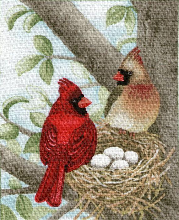 Pair Red Brown Birds Nest Fabric Panel Block By Koenigsbergershop