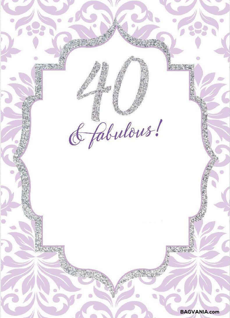 Free 40th Birthday Invitation Templates Printable   Invsite.co