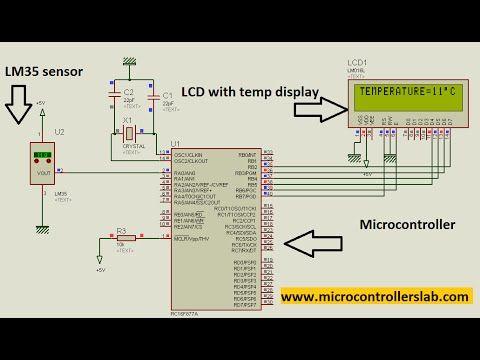 LM35 temperature sensor pic16f877a Mikro C proteus   videos lectures