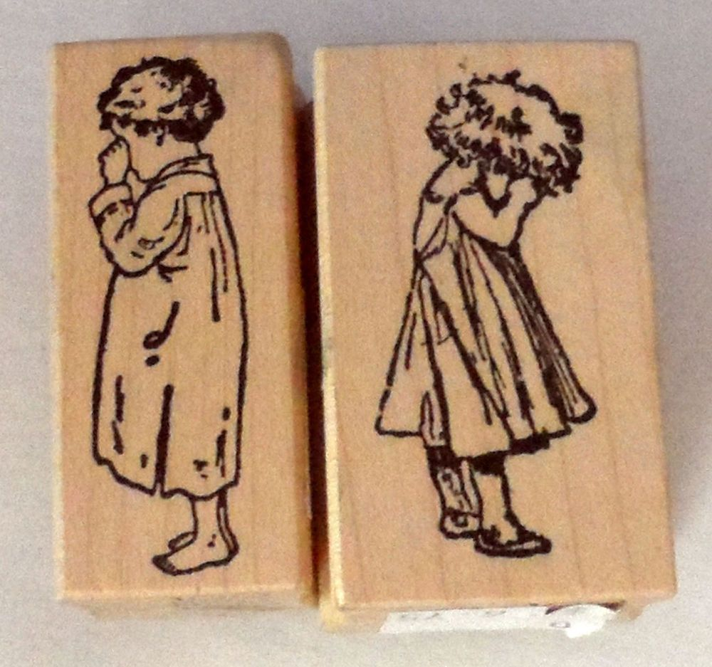Scrapbooking 2 Rubber Stamps 100 PROOF PRESS 2 Little Girls /crying &…