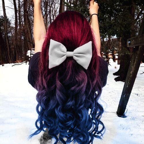 Black To Red To Blue Ombre Hair In A Really Cute Half Up Do For Winter This Is Thick Hair Styles Blue Ombre Hair Red Ombre Hair