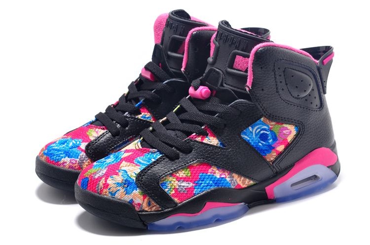 Womens Air Jordan 6 GS Floral Custom Black Pink For Sale In Girls Size-1 8513c3623