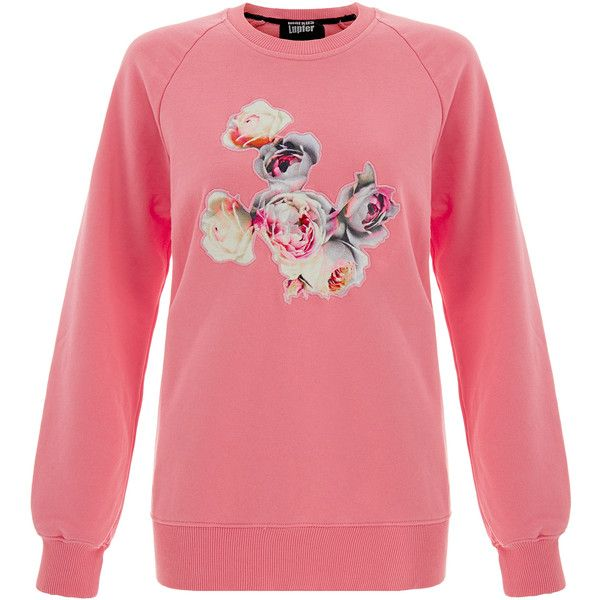 Markus Lupfer English Rose Applique Raglan Sweatshirt (810 NOK) ❤ liked on Polyvore featuring tops, hoodies, sweatshirts, pink, rose tops, red sweatshirt, long sleeve cotton tops, pink sweatshirts and pink long sleeve top