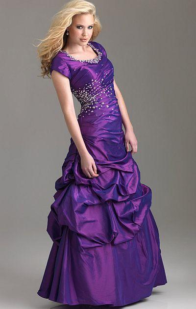 Purple Modest Prom Dresses