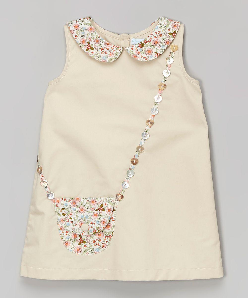 La fleur u le papillon beige floral purse aline dress infant