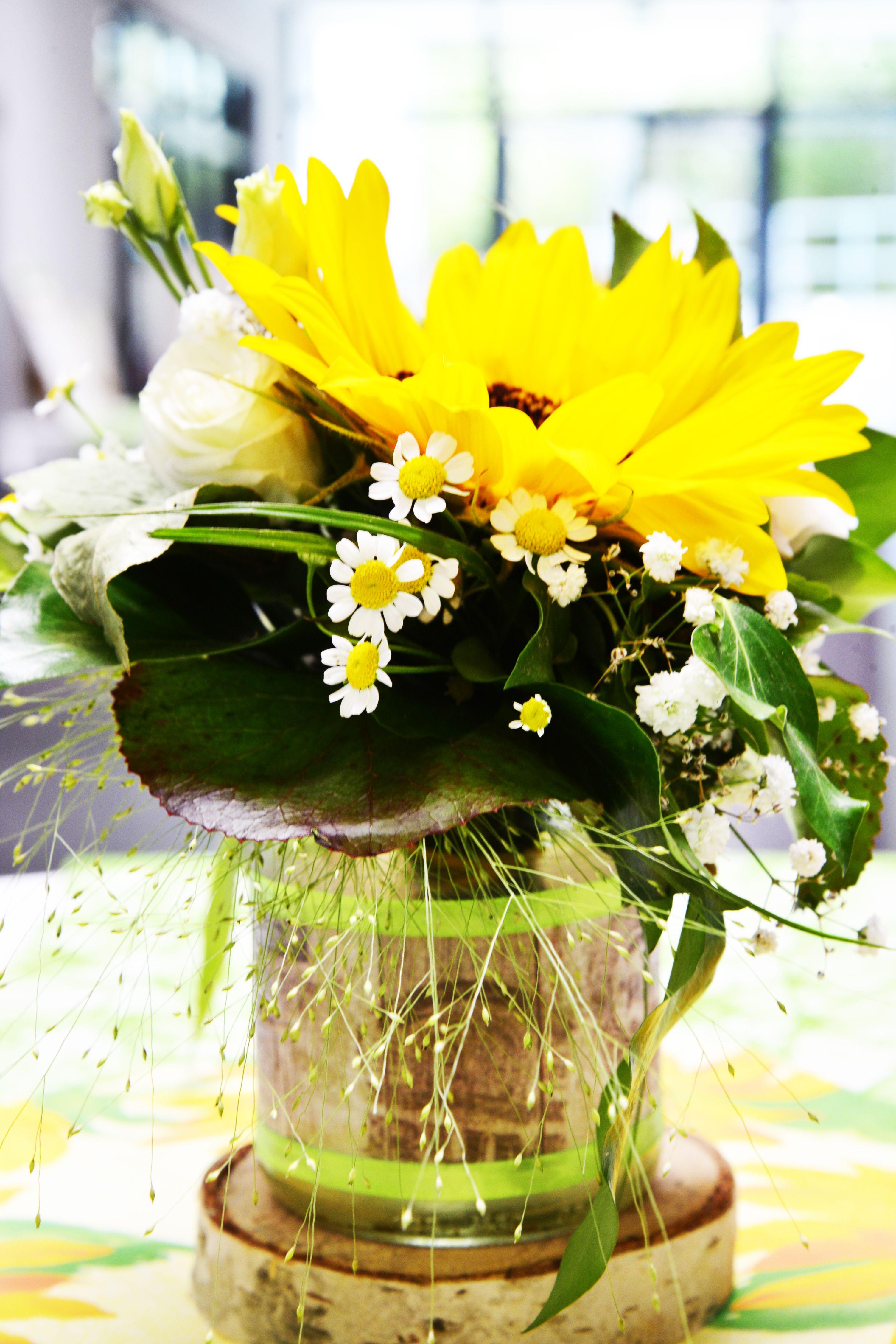 Hochzeit Tischdeko Sonnenblume Natur Rustikal Gelb Grun