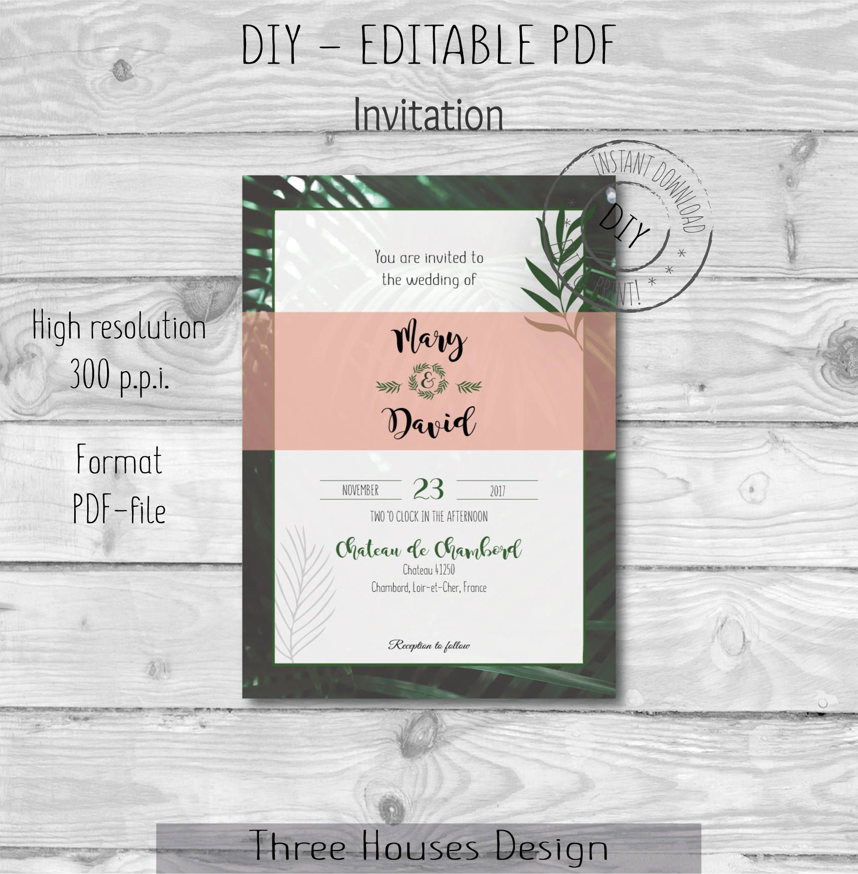 Green leaf blush pink wedding invite template wedding invitation