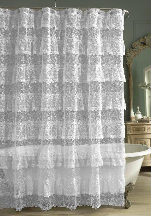 Product Priscilla Lace Ruffled Shower Curtain White Comforter