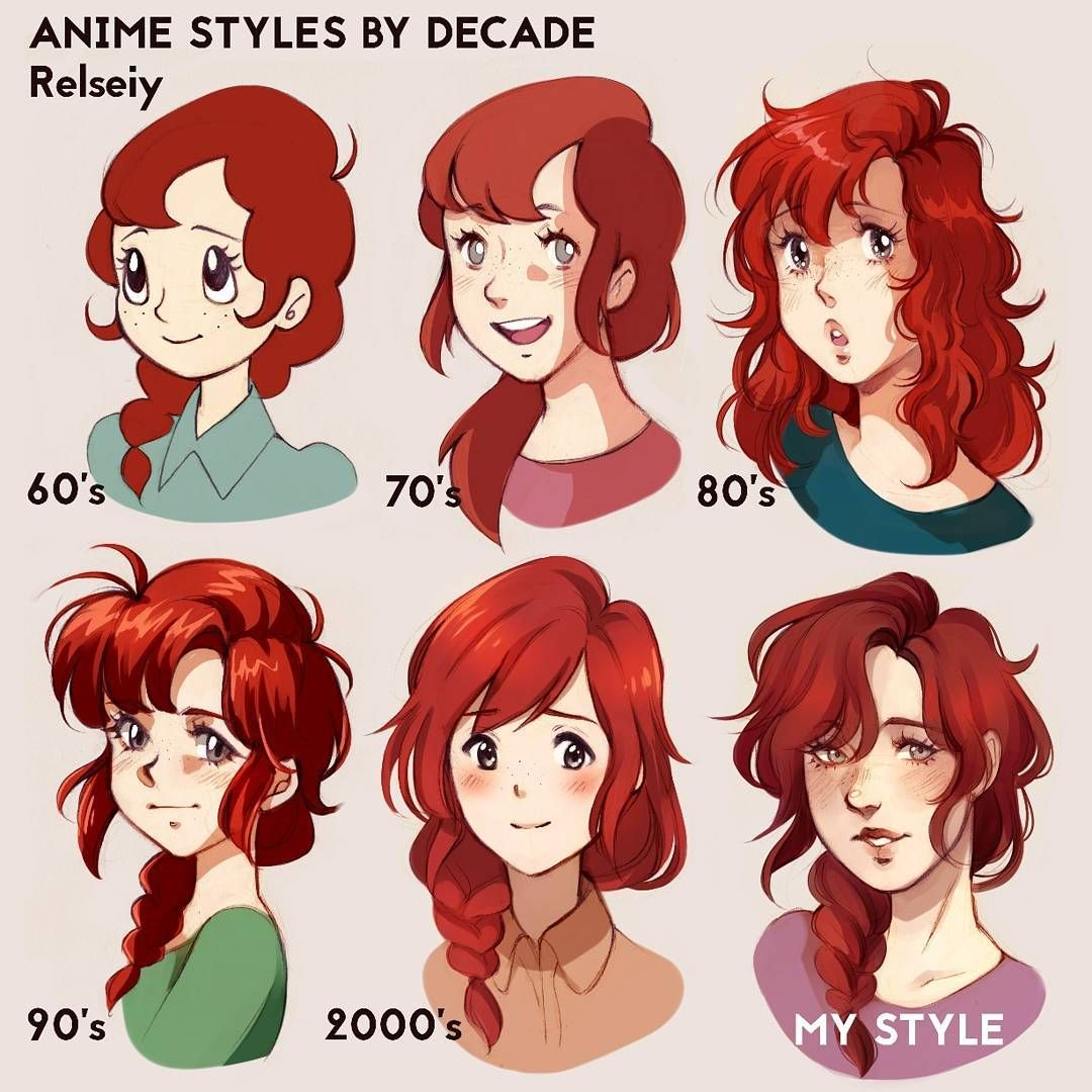 Style Challenge With Anime Styles By Decade What Do You Think Hope I Did Ok I Had So Much Fun With I Art Style Challenge Different Art Styles Cartoon Styles