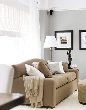 Living Room Tan And Gray With A Lil Black Tan Couch Grey Walls Home Home Living Room