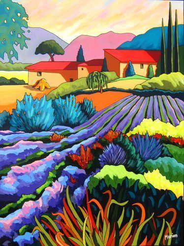 Jardins De Provence 30x40 By Louise Marion Louise Marion Artiste Peintre Paysage Urbain Quebec Couleurs Naive Art Colorful Art Art