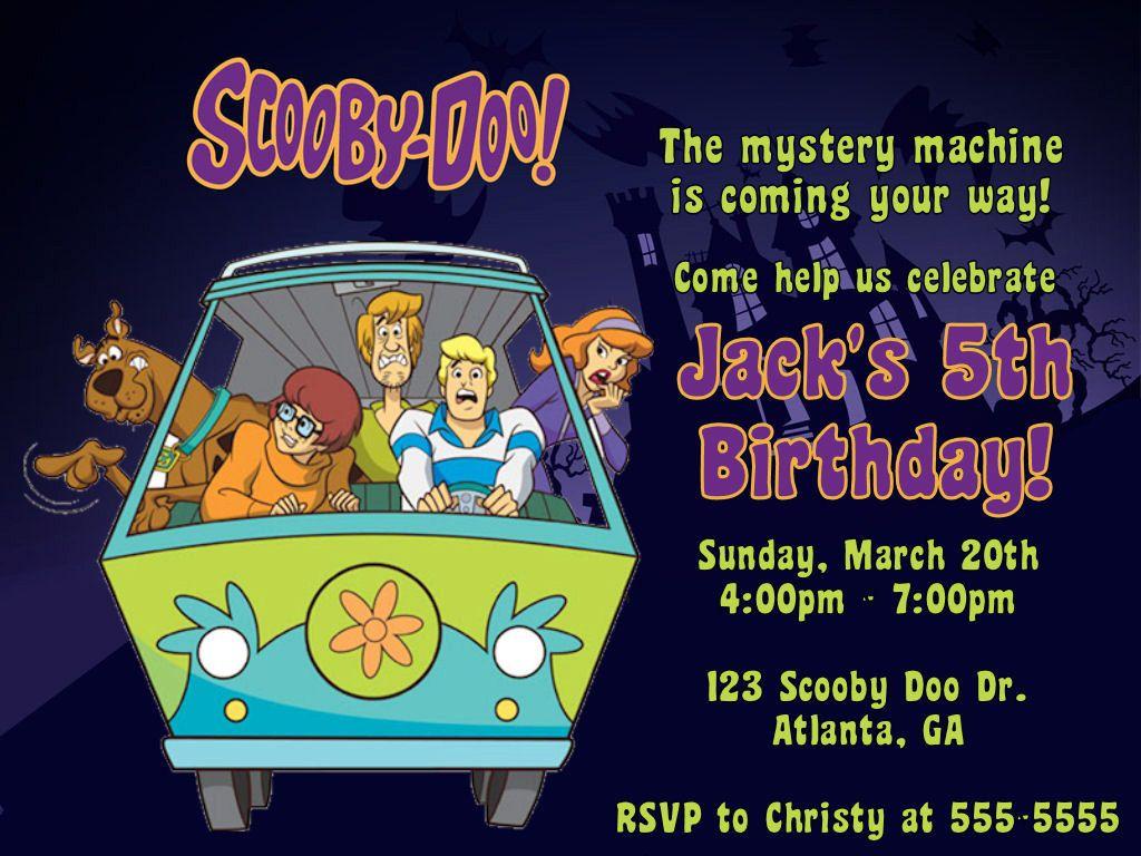 Scooby Doo Digital Invitation | Kids birthday party invitations ...