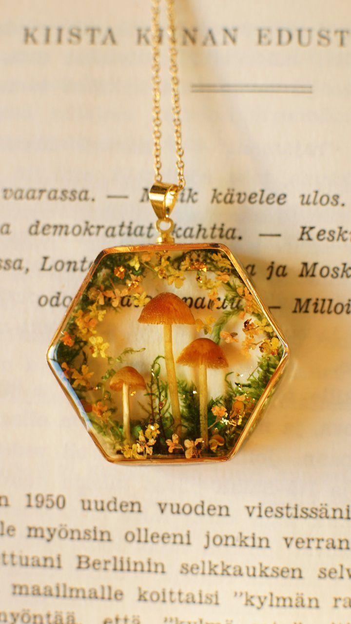 Photo of 'Aki no mori' mushroom locket necklace