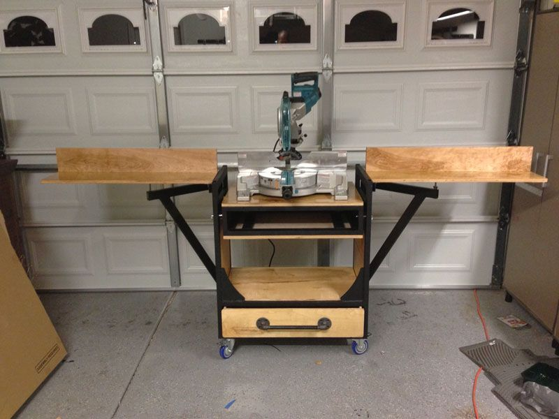 Folding Miter Saw Table My Miter Saw Work Bench The Garage Journal Board Miter Saw Miter Saw Table Woodworking At Home