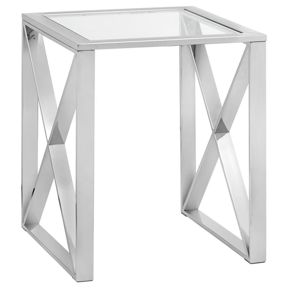 Glass top side table with stainless steel frame coffee tables side tables living room furniturebouclair com