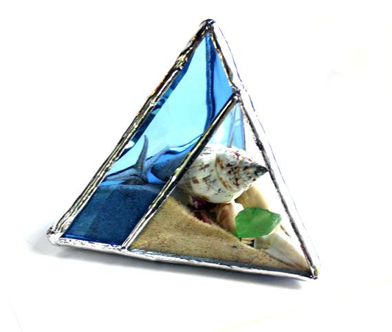 One Of A Kind Seaside Stained Glass Pyramid Beachscape  Please allow 5-7 days for me to complete this custom piece. This item is custom made to order,