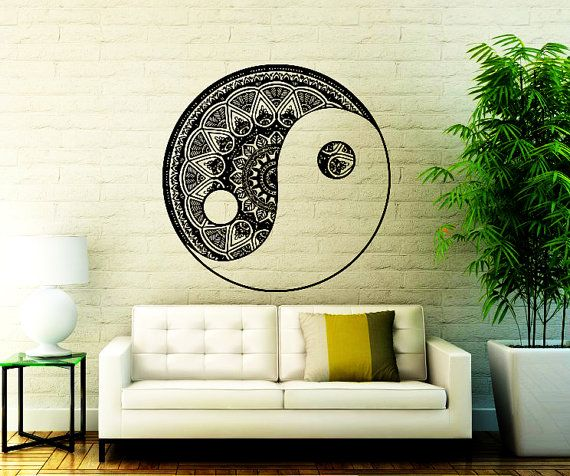 mandala wall decal - bohemian vinyl sticker - yin yang yoga studio