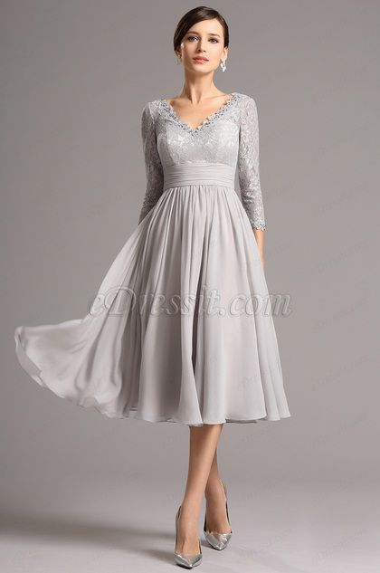 Long Lace Sleeves Plunging Neck Grey Tea Length Dress Short Party