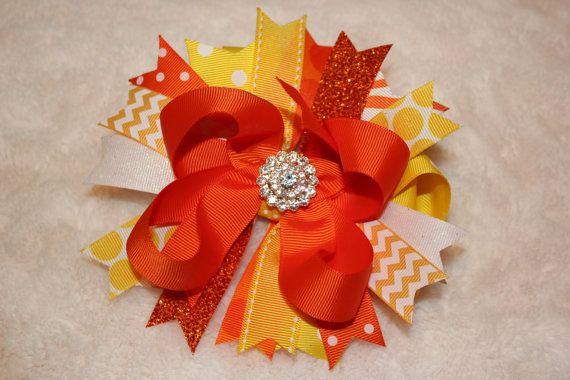 Summer Hair Bow Spring Hair Bow Orange and by BellaKumariBows, $13.00