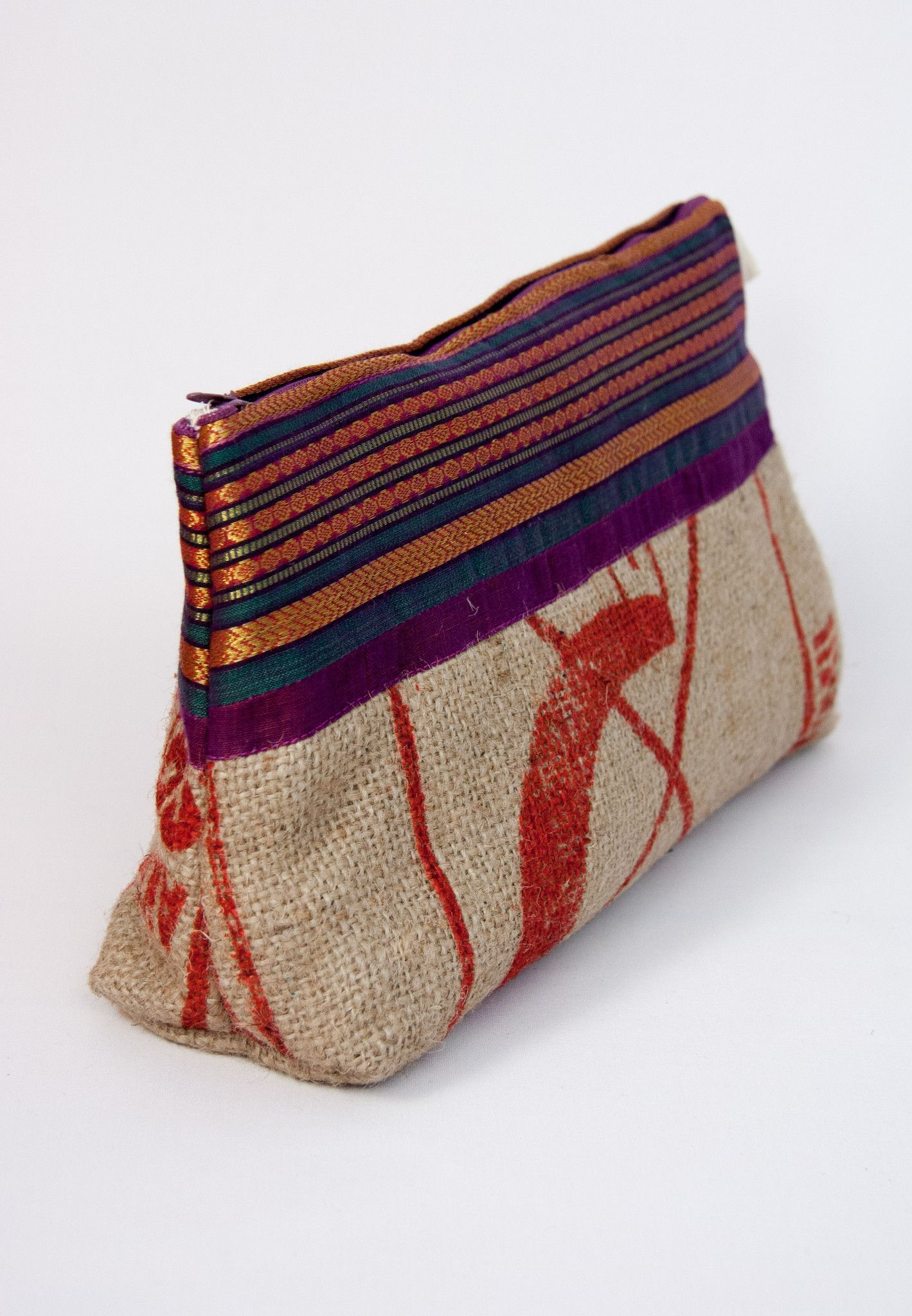 Recycled rice bag purse - Toiletry Bag Ganges Recycled Rice Bags And Sari 50 Silk