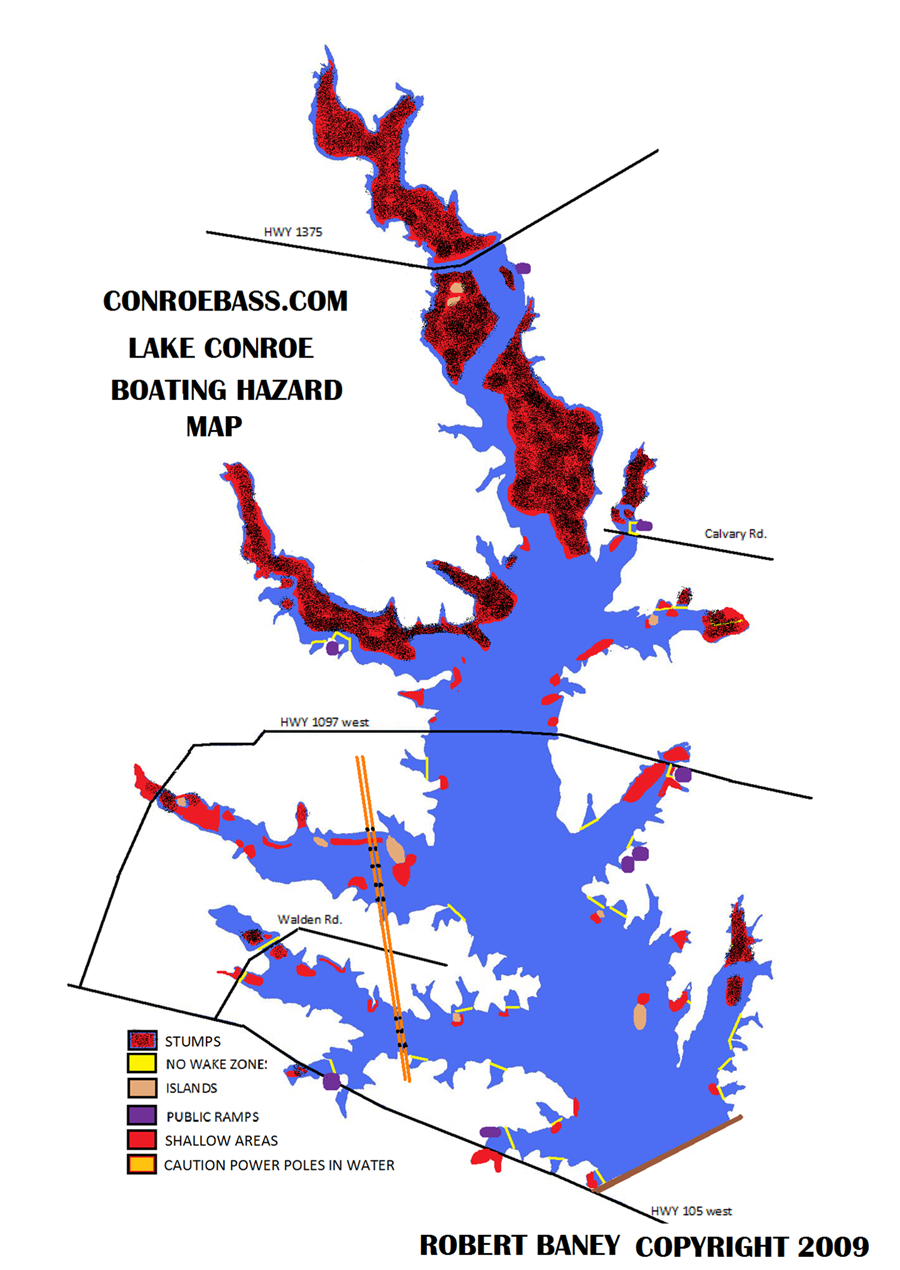 lake conroe fishing map Hazard Map Lake Conroe Texas Kayaking Hazard Map Conroe lake conroe fishing map