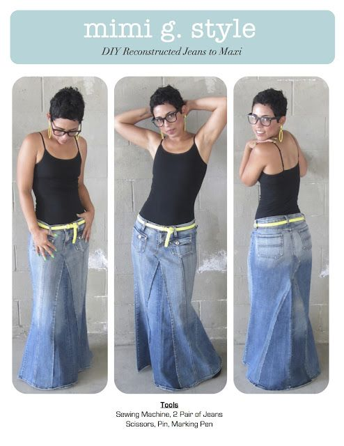 DIY TUTORIAL!!! Reconstructed Jeans to Fabulous Maxi! Plus many other DIY skirts and dresses, that are so cute!  I actually tried this for Ella. So easy and finished in about an hour. Need to try to make one for me.