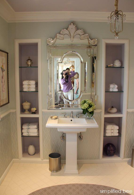 Lavender Bathroom With Venetian Mirror