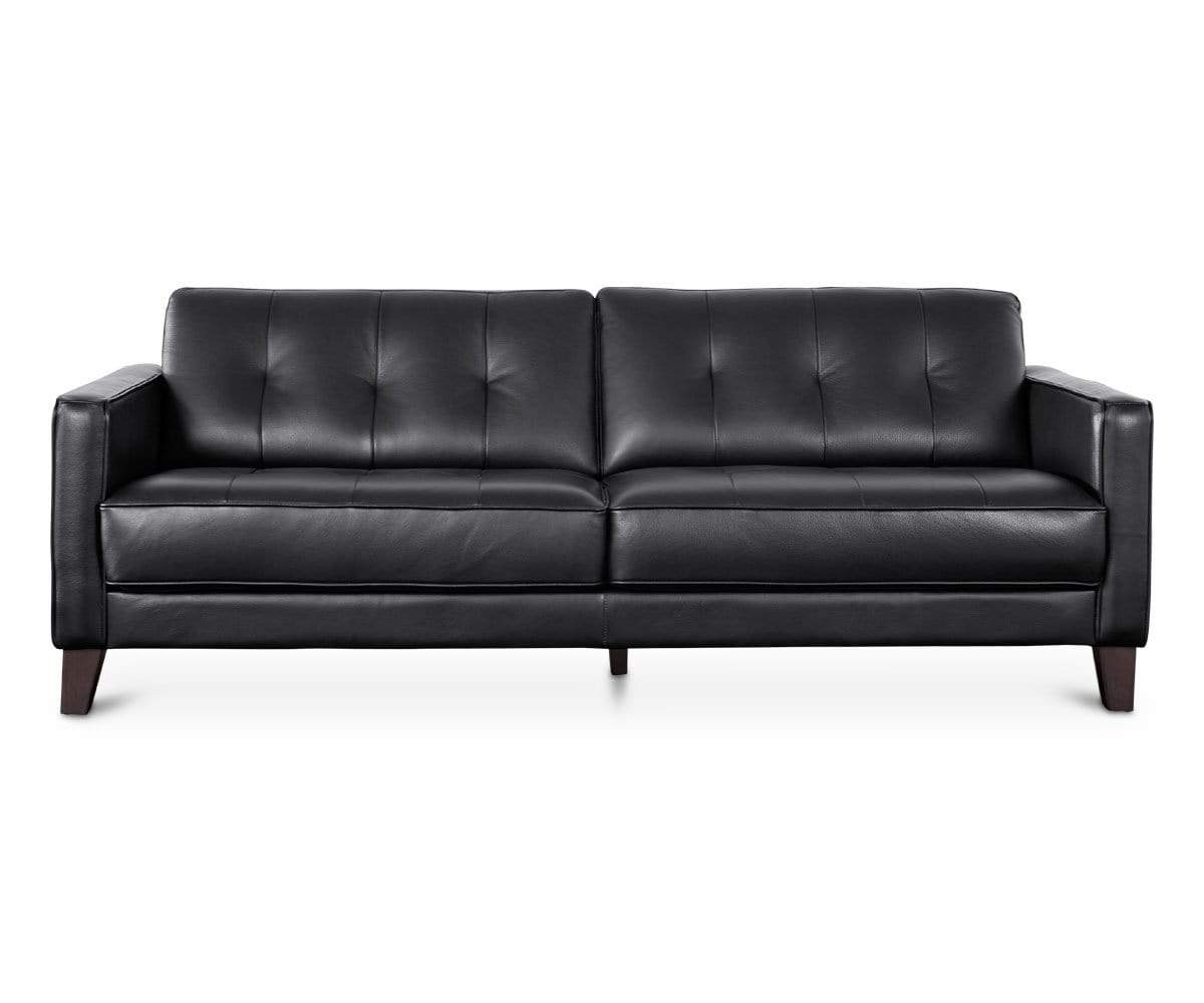 Gregata Leather Sofa Black In 2020 Black Sofa Black Leather Sofas Mid Century Modern Leather Sofa