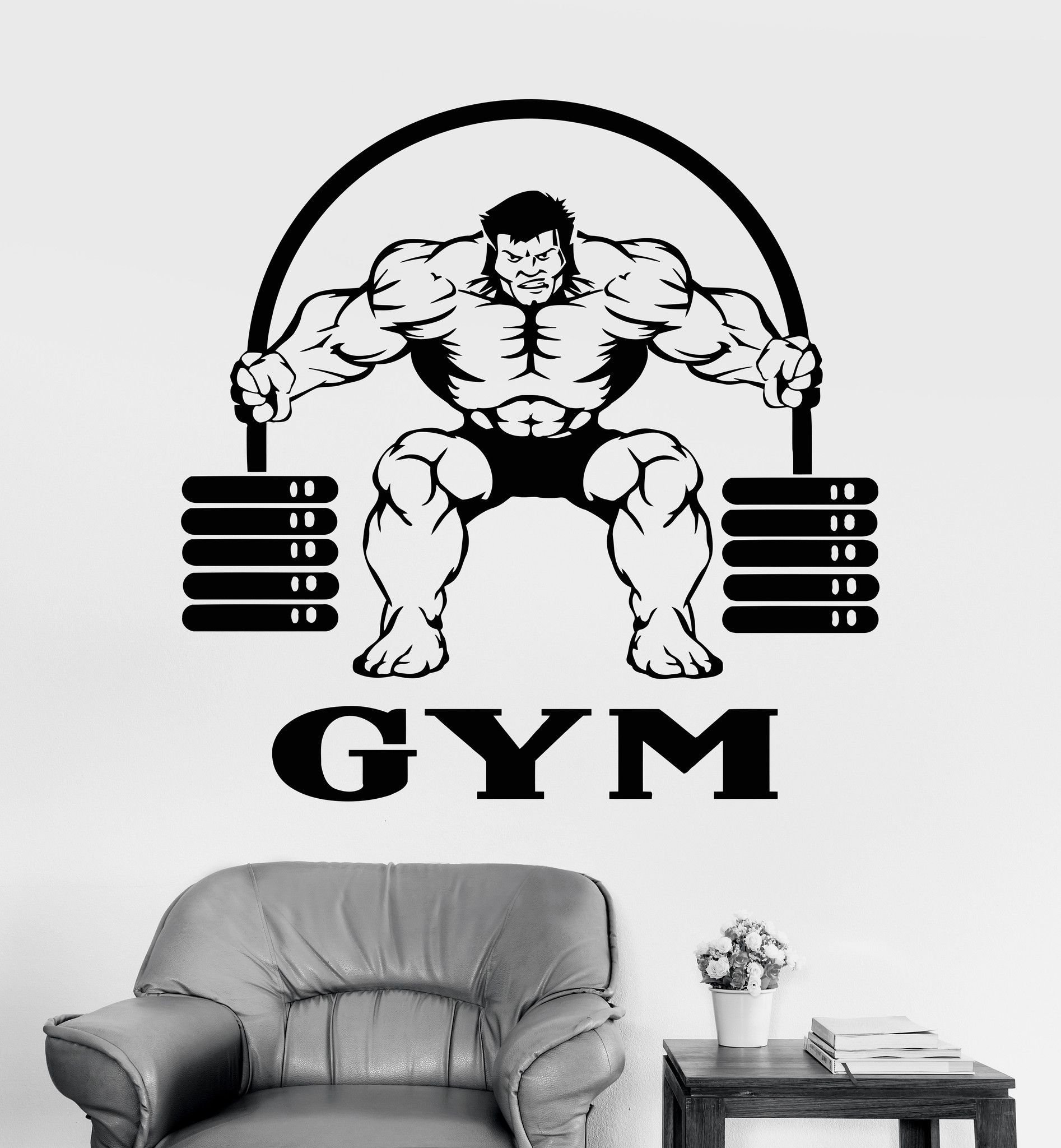 our vinyl stickers are unique and one of a kind every sticker we vinyl wall decal gym muscled iron sport logo stickers mural ig3754