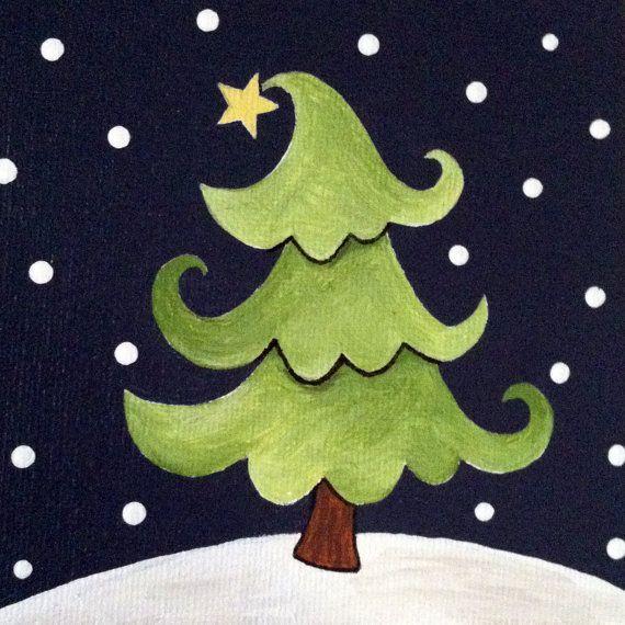 Swirly Tree Original Acrylic Painting On Canvas Board Christmas Tree Canvas Christmas Canvas Christmas Paintings