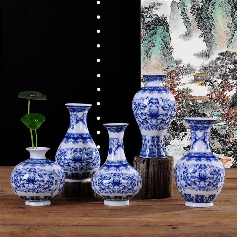 Vintage Chinese Style Blue  White Porcelain Ceramic Art Vases Home