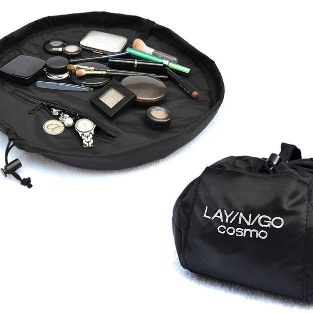 Best Travel Cosmetic Bag Lay N Go Cosmo Black