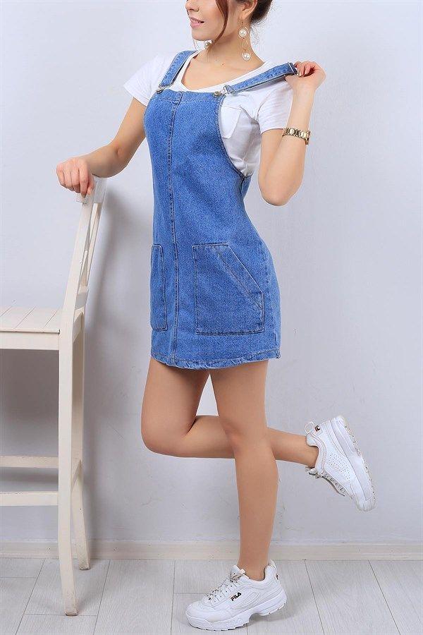 36 95 Tl Cepli Mavi Bayan Salopet Elbise 12350b Modamizbir Moda Stilleri Elbise Kot Elbiseler