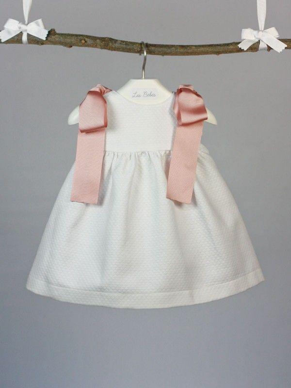 Vestido pique blanco lazo rosa palo bebe ni a verano ropa - Lazos para bebes ...
