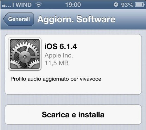 iOS 6.1.4 disponibile per iPhone 5