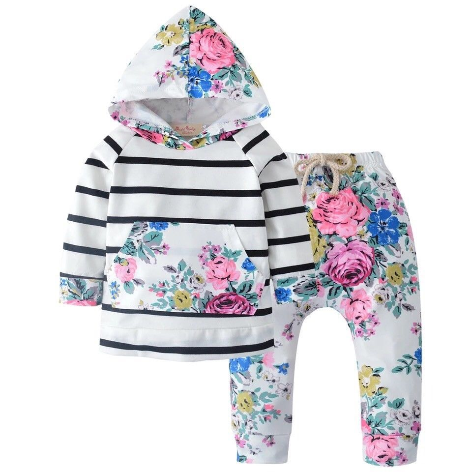 Baby girl two piece set hooded t-shirt with pants white Sz 4 M