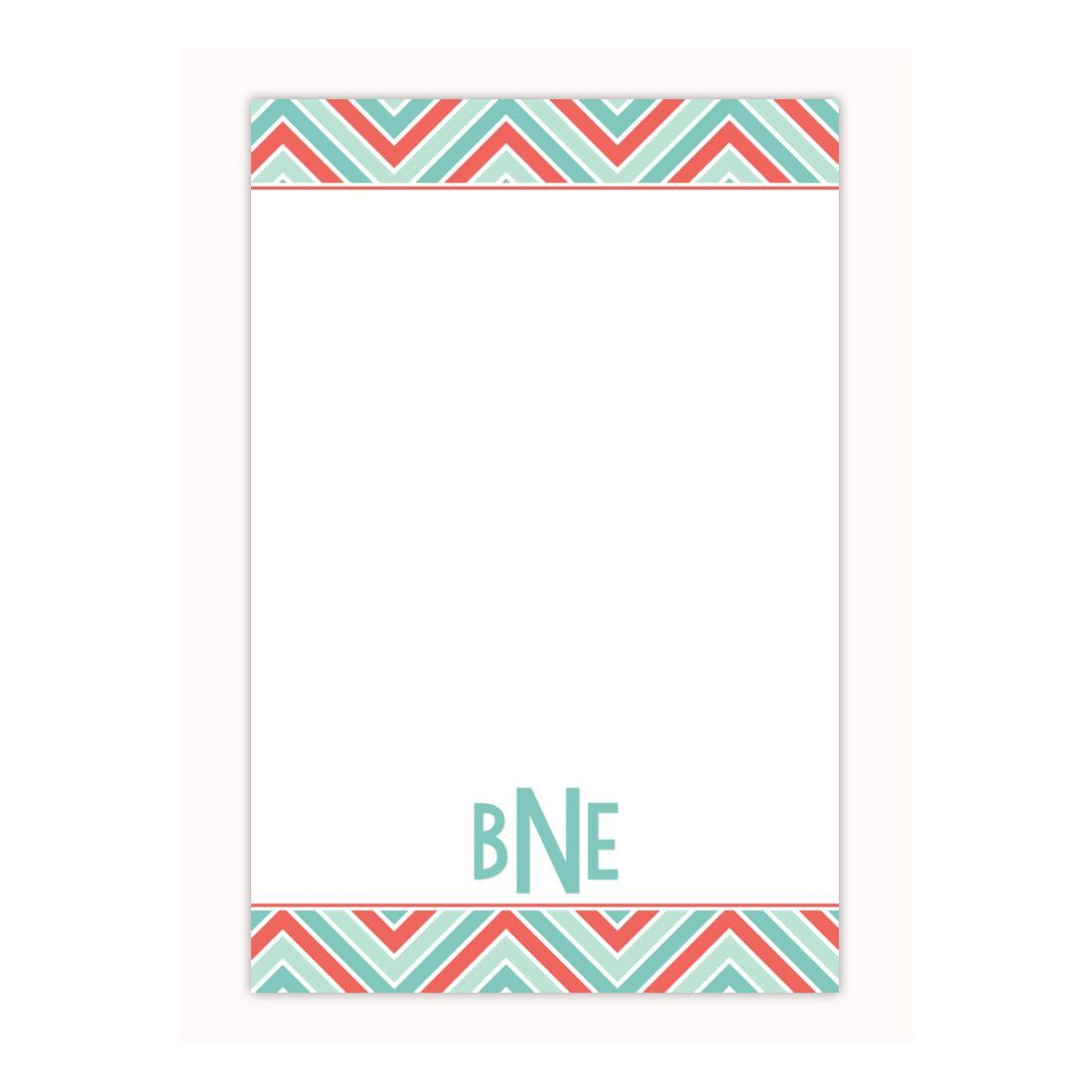 Chevron Print Personalized Notepad Custom Note Pad Memo Pad