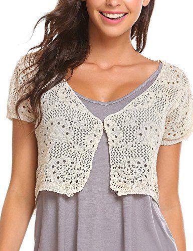 978793dcb3a10b Elesol Women Lace Crochet Bolero Shrug Tops Short Sleeve Knitted Open Cropped  Cardigan